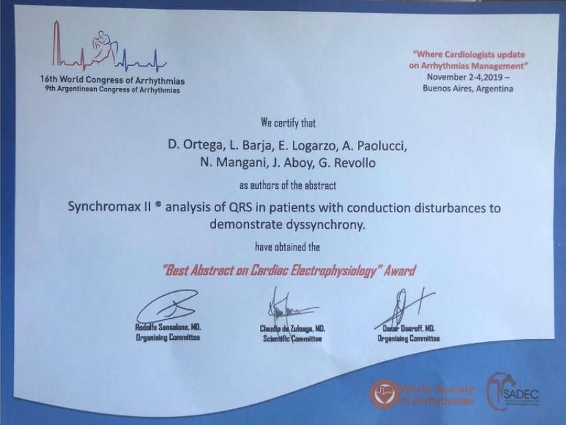 """premio """"Best Abstract on cardiac Electrophysiology"""" otorgado por la World Society of Arrhythmias y SADEC"""