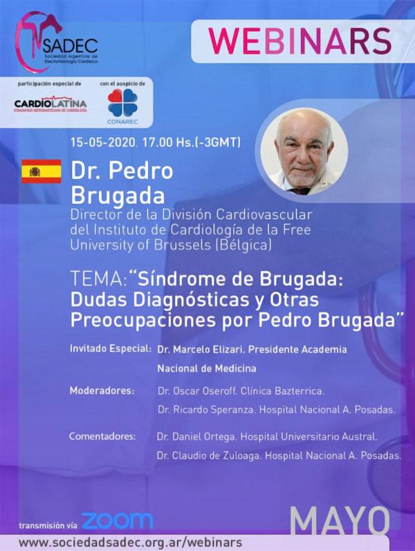 flyer webinar Dudas diagnósticas y otras preocupaciones por Pedro Brugada